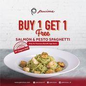 Pancious Promo Buy 1 Get 1 Free Salmon & Pesto Spaghetti (27202607) di Kota Jakarta Selatan