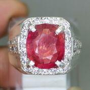 Batu Rubi Natural Merah Cutting Asli Ring Perak Kode 2101a (27222215) di Kota Surakarta