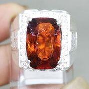 Batu Cincin Mandarin Garnet Orange Srilangka Ring Perak Asli (27226627) di Kota Surakarta