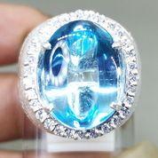 Cincin Batu Kecubung Biru Laut Blue Topaz Bersertifikat Asli (27226679) di Kota Surakarta