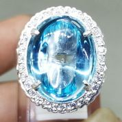 Batu Cincin Kecubung Biru Laut Topaz Bersertifikat Ring Perak Asli (27226699) di Kota Surakarta