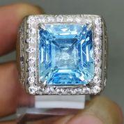 Cincin Batu Blue Topaz Kotak Biru Ring Perak Asli (27258463) di Kota Surakarta