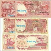 3 Pcs Uang Kertas Seratus Rp.(Tahun 1977,84,92) (27474823) di Kota Jakarta Pusat