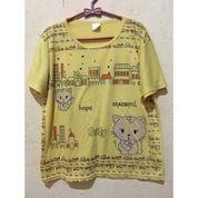 Kaos Set Celana Wanita Warna Kuning Motif (27870467) di Kab. Jeneponto