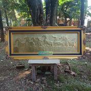 Lukisan Kuda Liar Kuningan Asli 140x60cm Natural Timbul Mewah (27884059) di Kab. Jepara