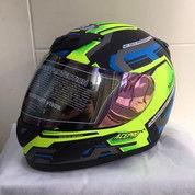 Helm JPN Fullface Hitam Doff Stiker Hijau - COD (28049895) di Kota Bandung