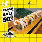 Kochi Kochi Oishi FLASH SALE, diskon 50% untuk semua jenis Sushi Roll full size via GoFood (28660951) di Kota Jakarta Selatan