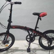 Sepeda Lipat Genio F211 Warna Hitam Rem Double Cakram (28696143) di Kota Depok