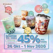 Fat Bobba Ada Diskon 45% dengan pakai kode promo HEMAT45E dari GRAB (28737467) di Kota Jakarta Selatan