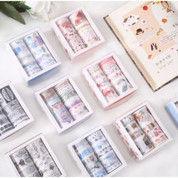 Washi Tape 1 Set 10pcs Masking Tape Selotip Warna Warni DIY Diary (28881735) di Kota Jakarta Utara