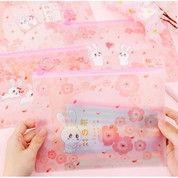 Tempat Pensil Kartun Transparan Bunny Pink Lucu Unik A5 File Folder (28881859) di Kota Jakarta Utara