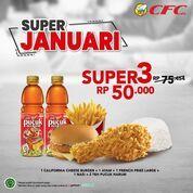 CFC Pesan Paket Super 3 harga cuma 50ribu nett di GoFood, GrabFood atau datang langsung ke gerai CFC (29422825) di Kota Jakarta Selatan