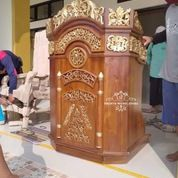 Mimbar Masjid + Kursi Khotib Set Tongkat Kayu Jati (29787692) di Kab. Rokan Hilir