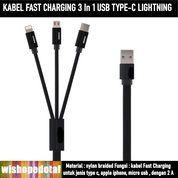 KABEL FAST Terbaru CHARGING 3 In 1 USB TYPE-C LIGHTNING (30444628) di Kota Jakarta Timur