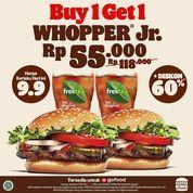 Burger King Special 9.9 Promo Buy1Get1 Whopper Jr + Freshtea cuma 55Ribuuuu!! (30927494) di Kota Jakarta Selatan
