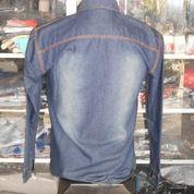 Kemeja denim lengan panjang, All size, warna biru (3384635) di Kota Bekasi