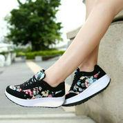 Kets Wedges SR02 Bunga (Hitam), Sepatu Kets Wedges High Heels Flatshoes Sneakers Wanita (3464189) di Kota Jakarta Pusat