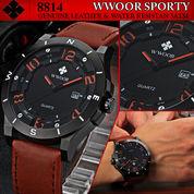 Wwoor L2016 Sporty Brown Red / Jam Tangan Cowok / Tali Kulit (3857617) di Kota Solok