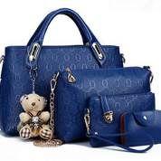 Tas Fashion Wanita 4 in 1 Dengan Boneka Warna Biru