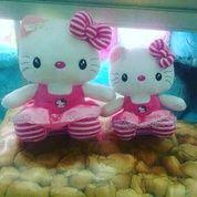 Boneka kucing tokoh kartun jepang HELLO KITTY stripe/belang pake pita