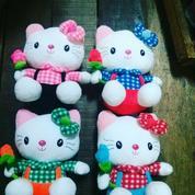 Boneka kucing lucu tokoh kartun Jepang HELLO KITTY dg bunga 1uk 4warna
