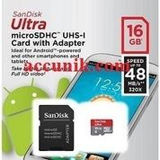 Memory Micro SD Sandisk 16 GB Class 10 Speed 48 mb/s