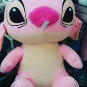Boneka mainan anak tokoh kartun Si STITCH Pink / merah muda film LILO AND STITCH Super Big Jumbo XXL SNI ORI NEW murmer