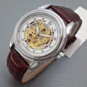 jam tangan otomatis rolex leather white brown type 4