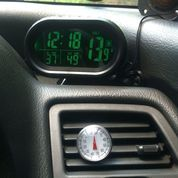 Jam Mobil Digital Multi Fungsi 4in1 +Voltmeter+Suhu Luar+Suhu Dalam