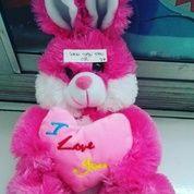 Boneka valentine/hari kasih sayang hewan kelinci teddy/teddy rabbit with pink love I LOVE U SNI NEW murmer (6544553) di Kota Jakarta Selatan