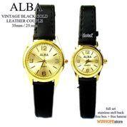 JAM TANGAN COUPLE ALBA VINTAGE LEATHER BLACK GOLD (7359045) di Kota Bekasi