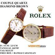 JAM TANGAN COUPLE KULIT CROCO ROLEX DIAMOND TANGGAL AKTIF COKLAT (7359391) di Kota Bekasi