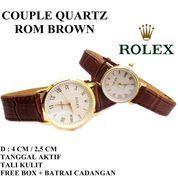 JAM TANGAN COUPLE KULIT CROCO ROLEX ROM TANGGAL AKTIF BROWN (7365025) di Kota Bekasi