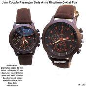 jam tangan kulit couple pasangan swiss army ringtime coklat tua (7369579) di Kota Bekasi