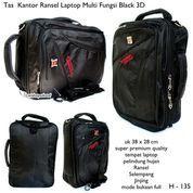 tas kantor ransel laptop multi fungsi black 3D (7379551) di Kota Bekasi