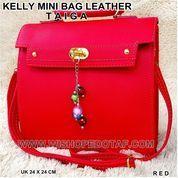 TAS KANTOR KELLY MINI BAG LEATHER TAIGA RED (7387695) di Kota Bekasi