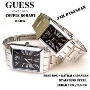 JAM TANGAN PASANGAN GUESS COUPLE ROMAWI STAINLESS FULL SET hitam (7393603) di Kota Bekasi
