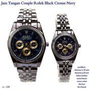 jam tangan couple rolex blacek crome navy (7660653) di Kota Jakarta Pusat