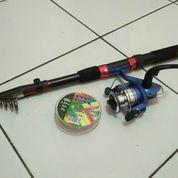 Alat pancing satu set 150cm, reel alumunium spool bonus senar (9299719) di Kab. Banyumas
