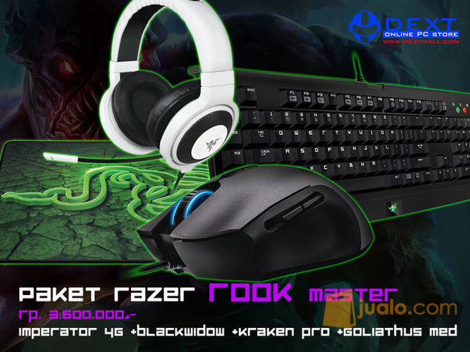 Paket Razer Rook Master (Mouse Imperator 4G+ Keyboard BW T2 Stealth+Mousepad Goliathus Med Speed+Headset Kraken Pro Black) (10049181) di Kota Jakarta Barat