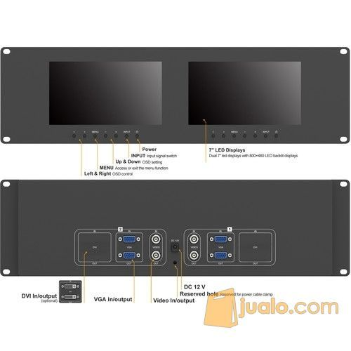 Monitor lcd 7 x 2 ra tv audio kamera video 10700673