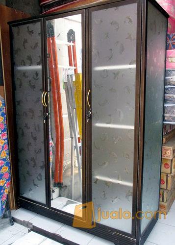 Lemari Pakaian Aluminium Frame Coklat Kaca Es 3 Pintu Kab Sidoarjo Jualo