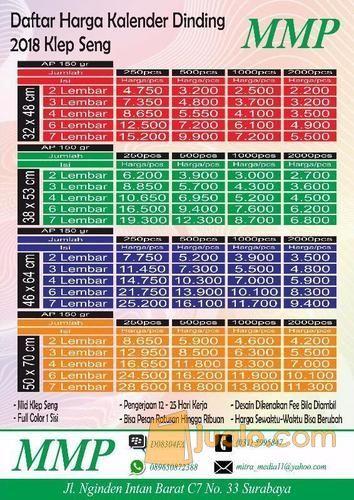 Cetak Kalender Dinding Kertas Art Paper 150 Gr 1 Sisi (12396503) di Kota Surabaya