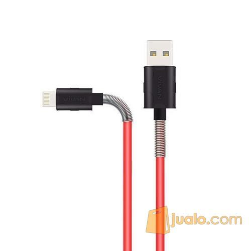 Vivan FL100 2.4A 1M Spring Lighting Data Cable For Iphone - RED (12762071) di Kab. Bantul