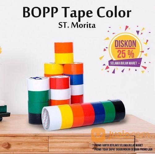 ST. MORITA - OPP TAPE 45 Mic - LAKBAN 48 Mm X 91 M - Red (14707803) di Kota Jakarta Timur