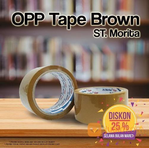 ST. MORITA - OPP TAPE 45 Mic - LAKBAN 48 Mm X 91 M - Brown (14708159) di Kota Jakarta Timur