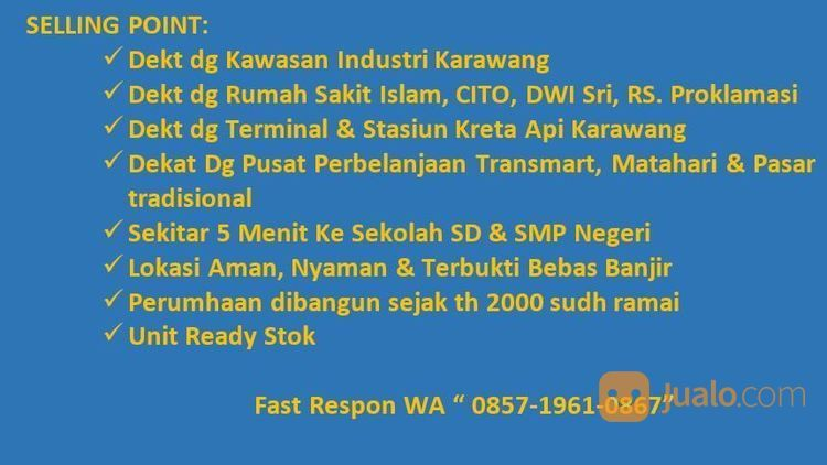 Rumah Subsidi Pling Murah Dekt Tanjung Pura Karawang Strategis (15016233) di Kab. Karawang
