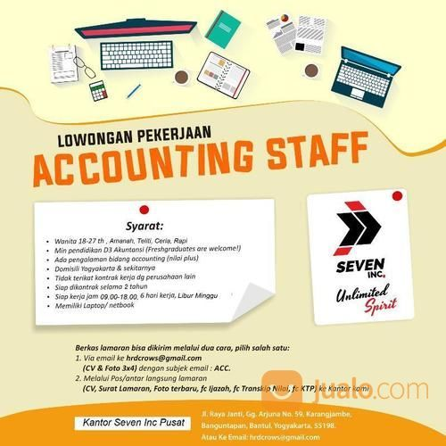 Lowongan Kerja Accounting Staff Kab Bantul Jualo