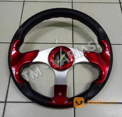 Stir Racing Momo 13 Inchi Import Palang Silver Motif Merah Polos Universal (17414499) di Kota Jakarta Pusat