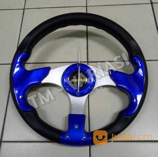 Stir Racing Momo 13 Inchi Import Palang Silver Motif Biru Polos Universal (17424307) di Kota Jakarta Pusat